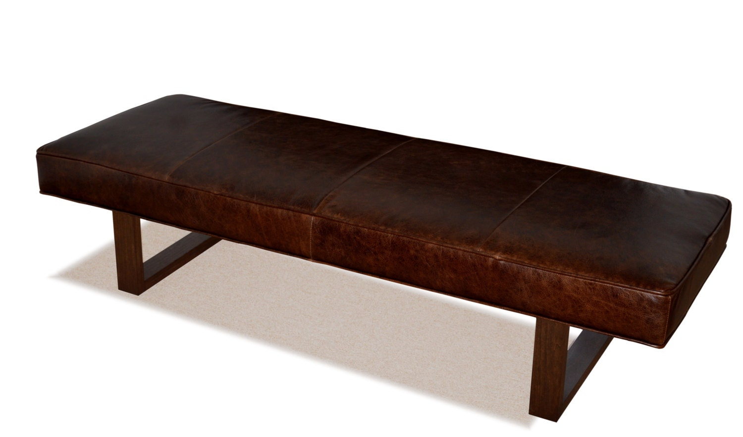 Genuine Leather Upholstered Bench Ottoman Coffee Table