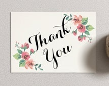 INSTANT Download - Printable Thank You Card - Vintage Floral (ivory)