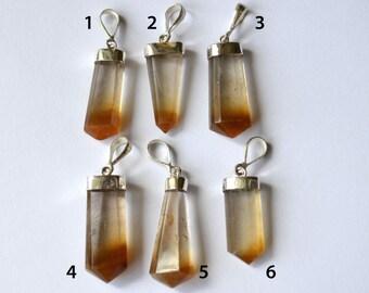 Rutilated Quartz Pendant, Gold Rutile, Copper Rutile,  Sterling Silver Cap and Bail
