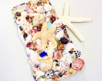 Shell encrusted iphone 6 case with all Kauai shells and sea glass
