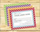 Gift Certificate, Quatrefoil Design - DIGITAL FILE