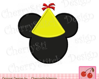 Birthday Mickey Machine Embroidery Applique Design -for 4x4 5x7 6x10 hoop