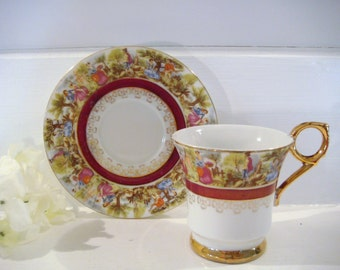 Royal sealy teacup, ornate tea cup, victorian decor, fine china, shabby chic decor