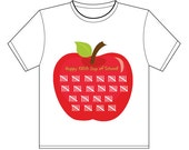INSTANT Download 100th DAY of School Apple tee shirt iron on transfer PRINTABLE Download - Fun Family Friend Party diy