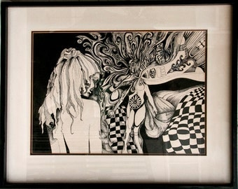 Incredible Mid-Century Surrealist Pen and Ink by Camano