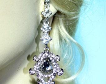Rhinestone Chandelier Earrings Bridal Prom Pageant 3.4 inch Clear Crystal