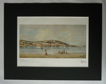 1919 Antique Print of Exmouth by Thomas Girtin, Devon Seaside Decor, Beach Landscape, Available Framed, Coastal Art, Low Tide, Blue Water