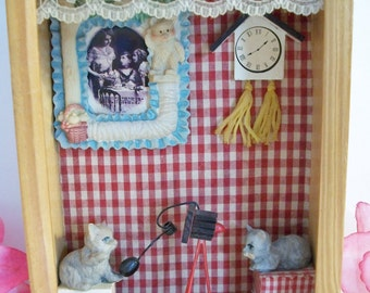 Vintage Cat Shadow Box Diorama Kitten Photographer Handmade Home Decor