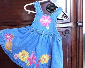 Upcycled denim overall dress.  Girl's size 12 - 18 months