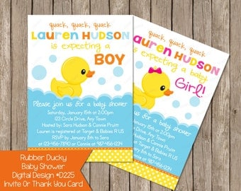 Rubber Ducky Duck Baby Shower Invitation Or Thank You Card, Invite Invites Printable Digital File