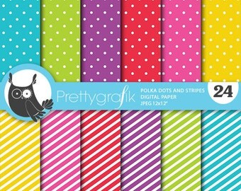 Polka dots and stripes digital paper, commercial use, scrapbook papers, background polka dots, stripes - PS670