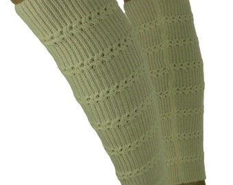 FO900 legwarmers Leg warmers knitted cream tulips
