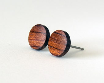 Wood studs, wood earrings, mens earrings, wooden stud earrings, men's studs, wood post earrings, men's earrings, rustic studs, bubinga studs