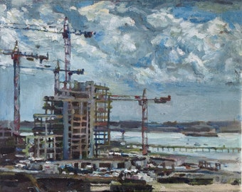 "PRINT REPRODUCTION of original painting - ""View from Itchen Bridge, Southampton"" on A4 paper."