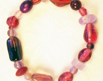 Rose toned mixed bead bracelet (B33)