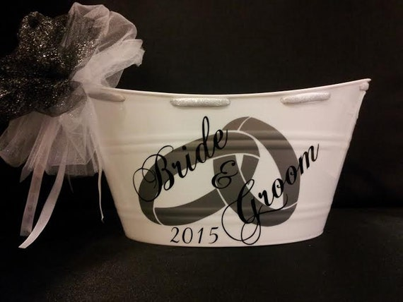 Bride and Groom Wedding Gift Basket, Oval Tub, Bridal Party Gift ...