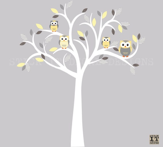 owl decal owl tree wall sticker yelllow grey owl owl wall decal