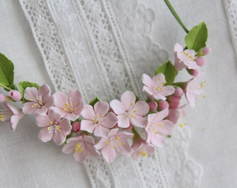 Sakura Three in one: corsage, necklace or headband.   polymer clay flower. Made to order .