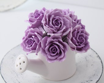 Hair bobby pin polymer clay flowers. light purple roses. Set of 3.