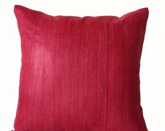 Red Silk Pillow, Marsala Silk Cushion, Decorative Pillow Handmade Silk, Cushion Cover, Marsala Summer Spring Decor, Gift 16x16, Silk Bedding