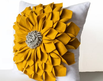 Dorm Pillows, Felt Flower Pillow Cover, Mustard Gray White Pillow Case, Floral Pillow, Gift, 16x16, Anniversary, Wedding, Housewarming