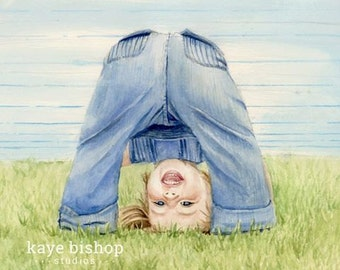 Upside Down Girl Watercolor Painting Giclee Print - Little girl playing and having fun!