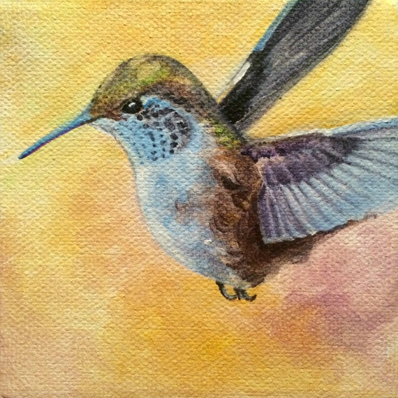 """Original Acrylic Animal Fine Art Painting on Gallery Canvas Titled: LUCKY HUMMINGBIRD 4x4x1.5"""" by Ms. Emily M."""