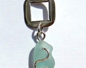Sea Glass Necklace Pendant - Aquamarine ~ Beach Glass Jewelry - Silver Wire Wrap with chain - LJ0008
