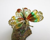 1930s Art Deco Butterfly Enameled Filigree Brooch/ Pin, Silver 800, Handmade, Excellent Condition, Turkey.