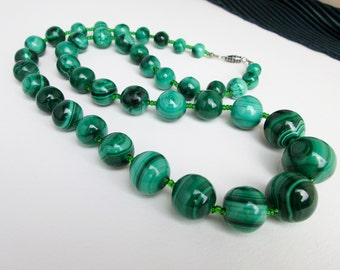 "Malachite Necklace, Large Graduated 9-18mm. Mid Century, Genuine Beads Knotted , 27"" long, Natural not Man Made, USA ca.1960."