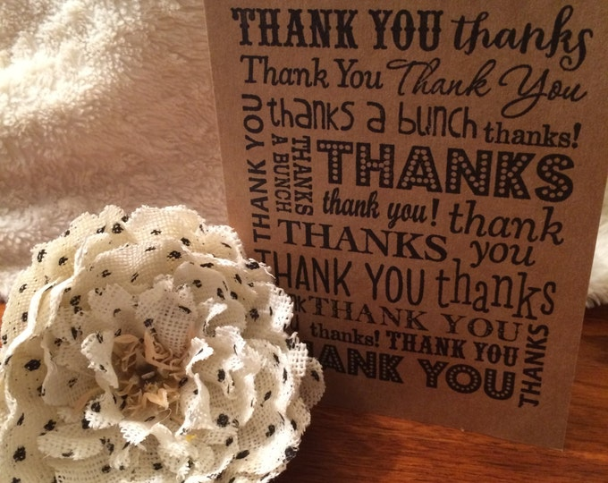 """Handmade, Unique, Simple yet Classy, Hand Stamped, Greeting Card """"Thank You"""" with or without Hearts"""