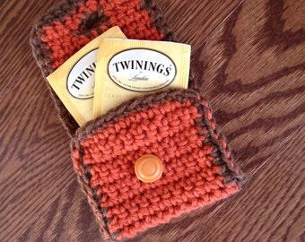 Tea Bag wallet in orange and brown