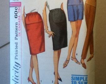 "Simplicity Vintage Maternity Skirtt & Slacks Pattern 6061 Size: Waist 26"" Hip 36"""