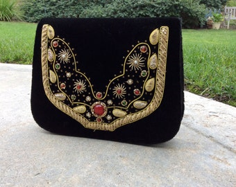Metal Embroidered Evening Clutch