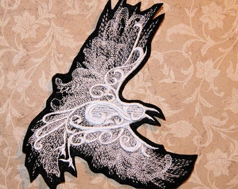 Ghost Raven White Baroque Iron On Embroidery Patch MTCoffinz - Choose Size