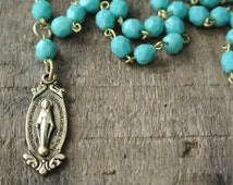 Miraculous Medal Necklace, Rosary Bead Chain, Religious Necklace, Gold or Silver Tone, Great Gift, Many color options By UPcycled Works