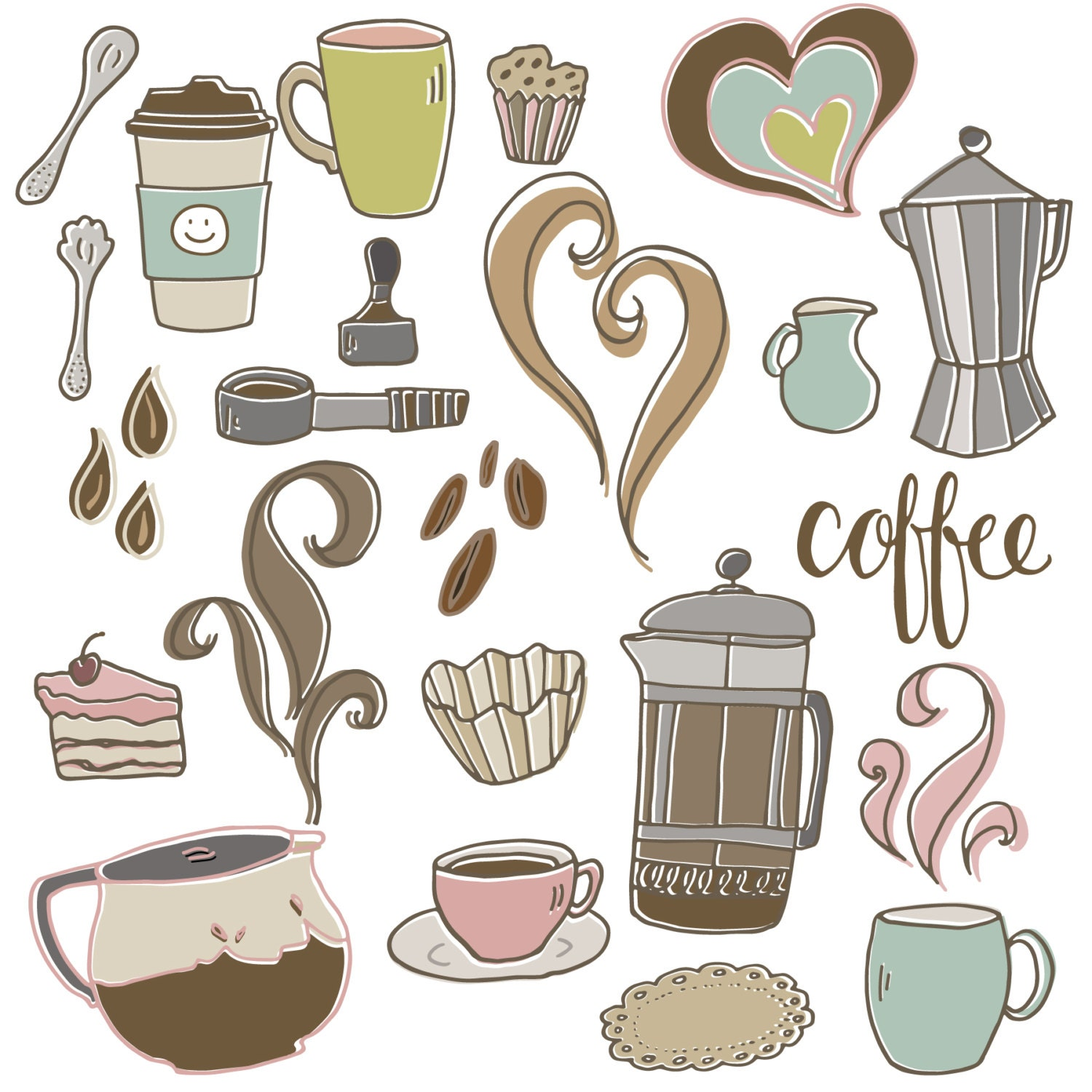 CLIP ART: Cute Coffee Set // Cafe Shop French Press Espresso