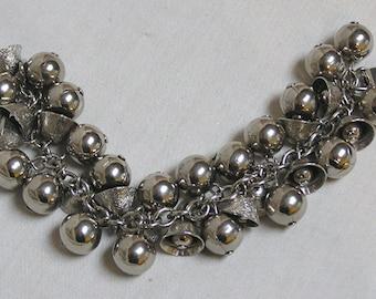 Vintage Bracelet Silvertone Balls and Bells Along A Silvertone Chain
