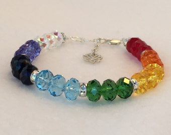 Balanced Chakras - Silver - Therapeutic Sacred Energy Infused Swarovski Crystal Healing Bracelet by Crystal Vibrations Jewelry