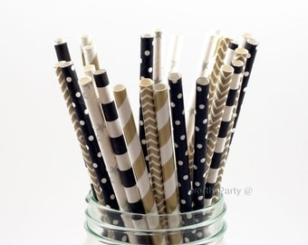 GATSBY Inspired Black Gold Silver Striped Chevron Polka Dots Paper Straws with Free Printable DIY Flags (25 count)