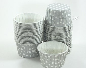 LIGHT GRAY Polka Dots Candy Nut Portion Cups- Greaseproof Cupcake/Muffin Baking Cups (24 Count)