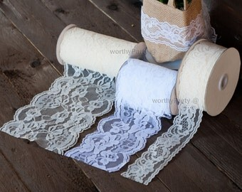 Lace Ribbon Floral Trim Patterned Ivory/ Baige and White (available in 4 sizes)