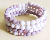Lilac Purple Beaded Bracelet - Stackable, Pastel, Pale, Lavender, Violet, Czech Glass, Memory Wire, Spring, Arm Candy, Bridesmaid Jewelry