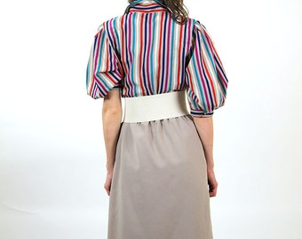 Striped colorful vintage dress, women midi dress, summer fashion, size L, 12
