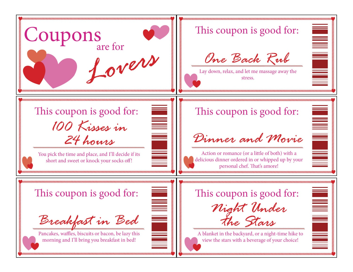 Couple coupon books for him