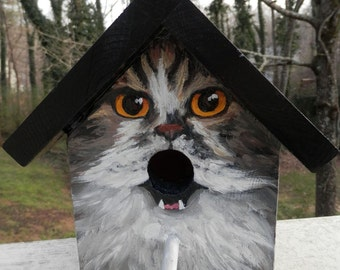 Bird House Hand Painted Custom Grey Cat Design Wood Outdoor