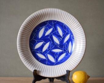 Vintage Danish - big bowl / platter - leaf decor - Einar Johansen - collectible - own studio - midcentury