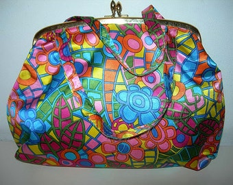 Fab Psychedelic Satin Floral Handbag,Cosmetic Bag Vintage Retro Vivid Colours Kiss Lock Frame
