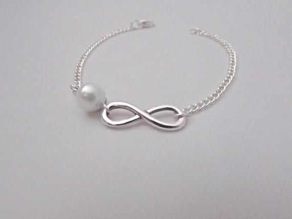 Infinity Bracelet, Silver Infinity Bracelet, Silver Bracelet, Bridesmaid Gift, Gift for Girls, Bridesmaid Bracelet, UK Seller Pearl Bracelet