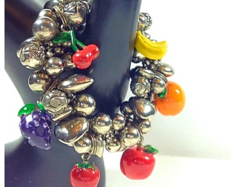 Vintage Silver Tone Metal Charm Bracelet with Enameled Fruit Charms, Stretch Charm Bracelet
